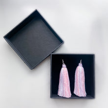 Load image into Gallery viewer, Handmade Striped Tassel Earrings.
