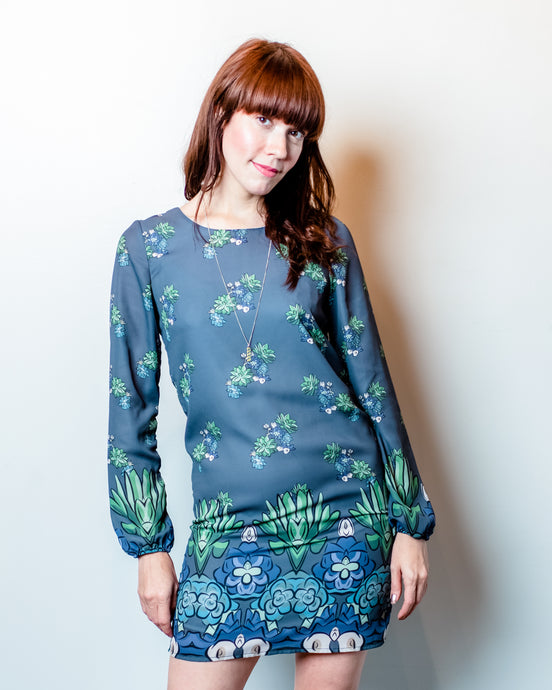 Succulent Long Sleeve Chiffon Dress