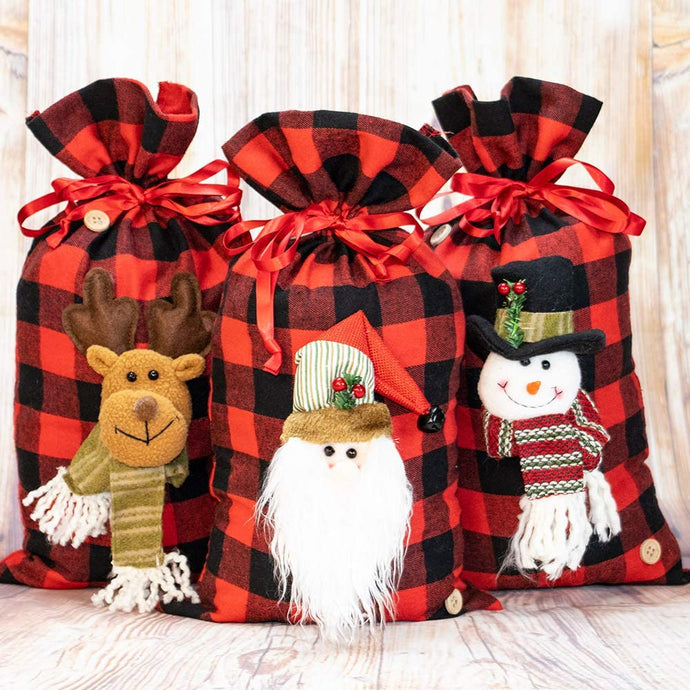 Set of 3 Zero Waste Christmas Friends Fabric Gift Bags