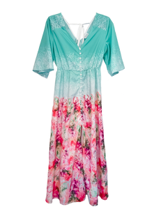 Candy Melt Boho Kimono Sleeve Button Front Maxi Dress
