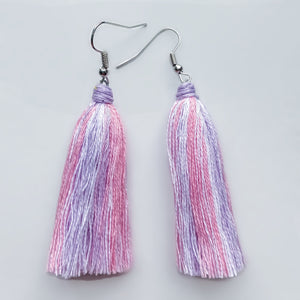 Handmade Striped Tassel Earrings.