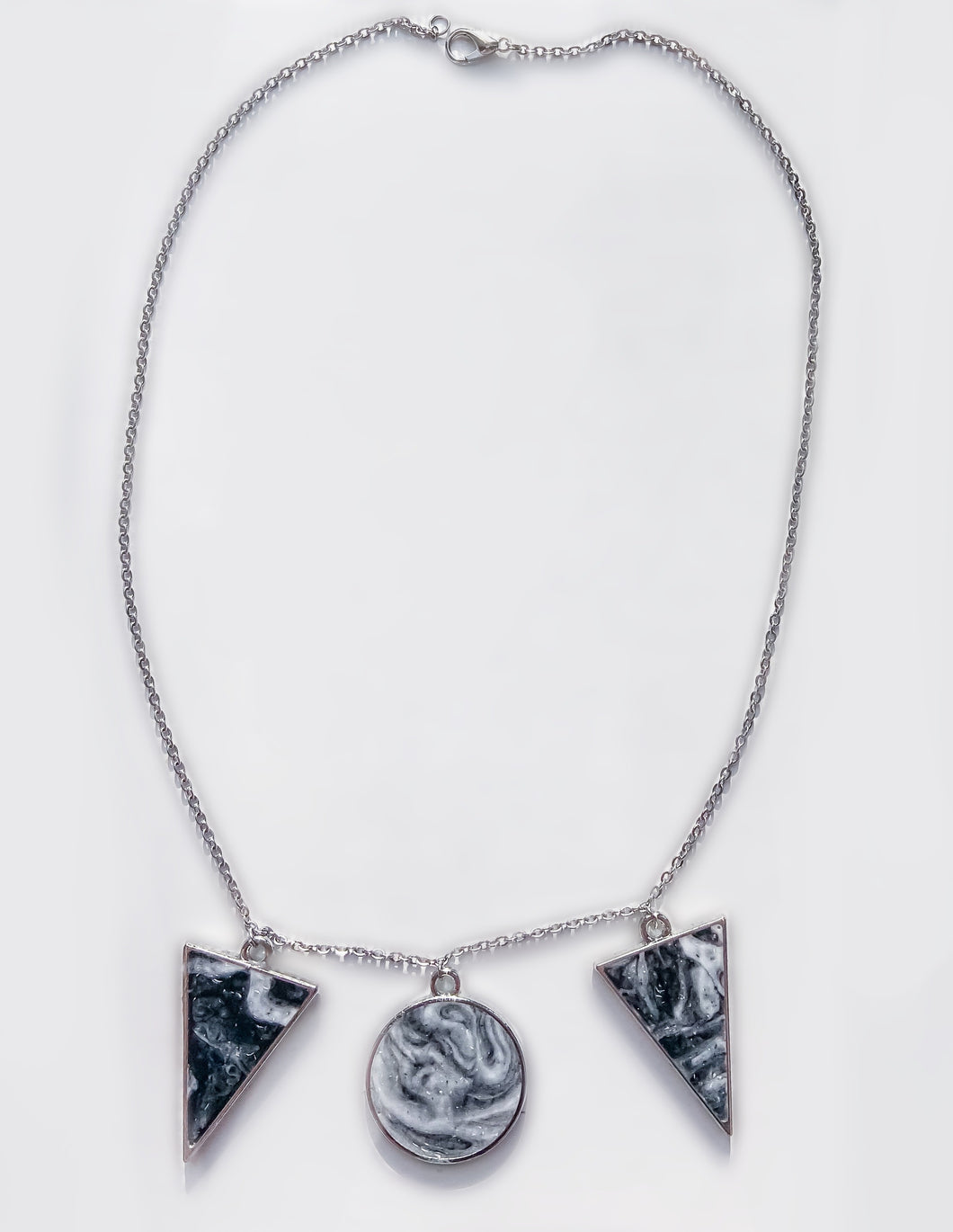 Marble Resin Statement Stainless Steel Necklace