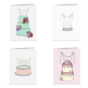 Set of 4 Snarky Cake Blank Greeting Cards