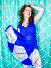 Load image into Gallery viewer, Blue Moon Ruched Retro Dress