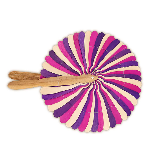 Handmade Pink and Purple Striped Wooden Hand Fan