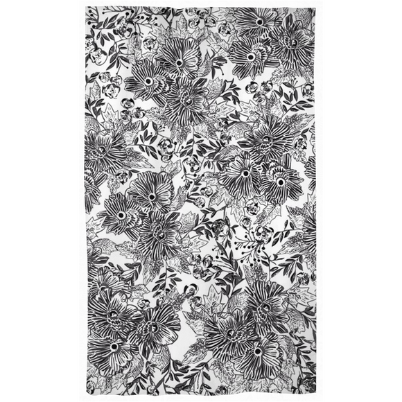 Graphic Black and White Floral Curtains (Set of 2 Panels)