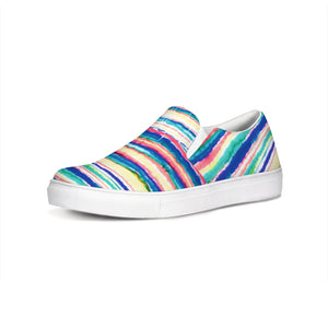 Dripping Rainbow Slip On Canvas Sneakers Shoes Unisex