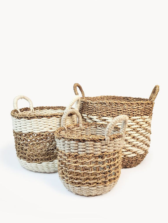 Set of 3 Handmade Fair Trade Jute Wool Mesh Basket