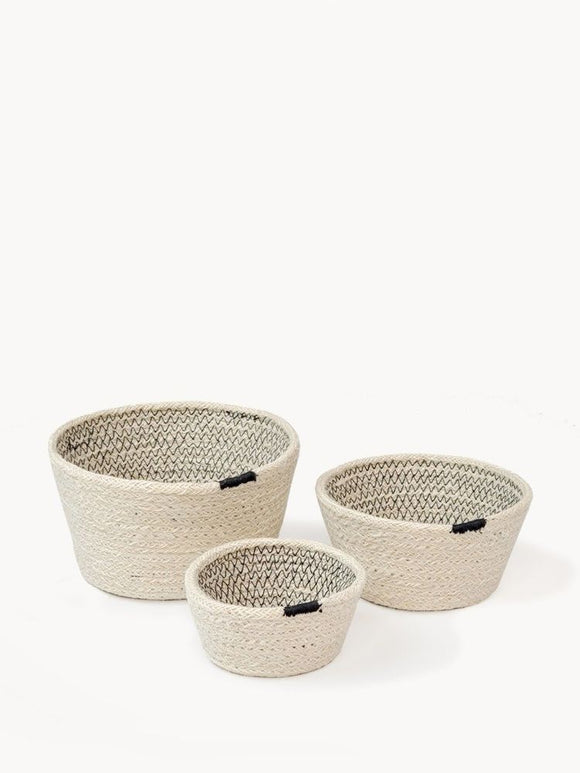 Set of 3 Handmade Fair Trade Minimalist Contrast Stitch Bowls