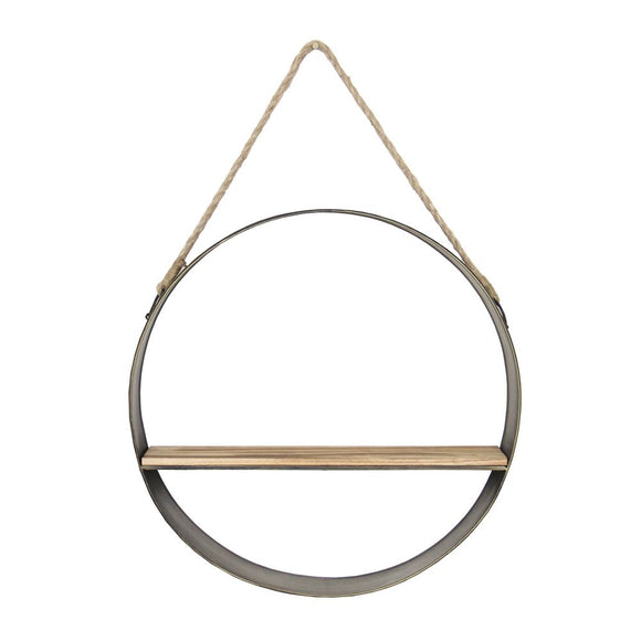 Rustic Metal and Rope Circle Hanging Shelf