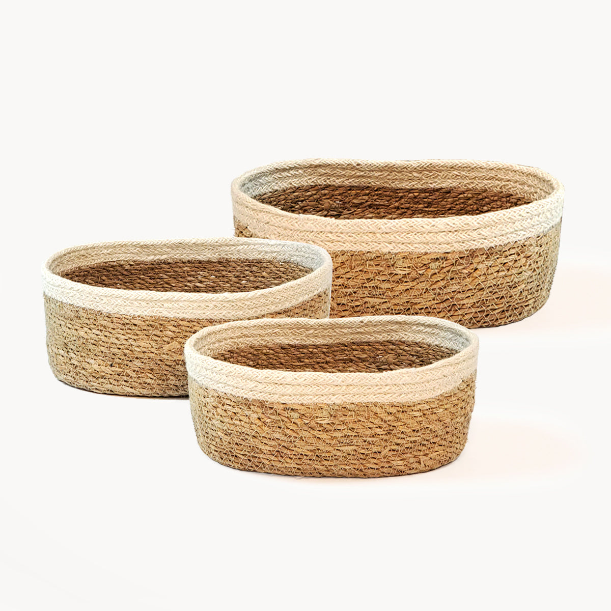 Set of 3 Handwoven Fair Trade Savar Oval Bowls