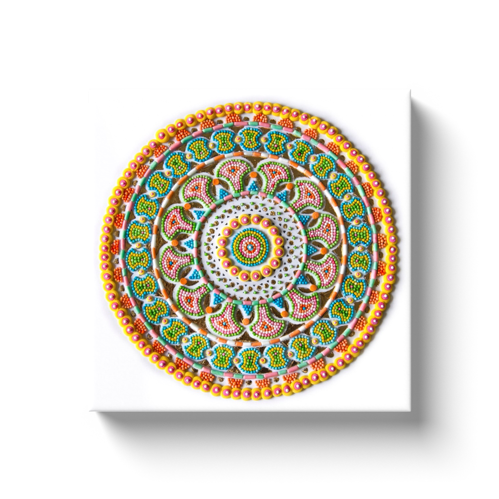 """On Redirection"" Frosting and Gold Leaf Mandala Canvas Print"