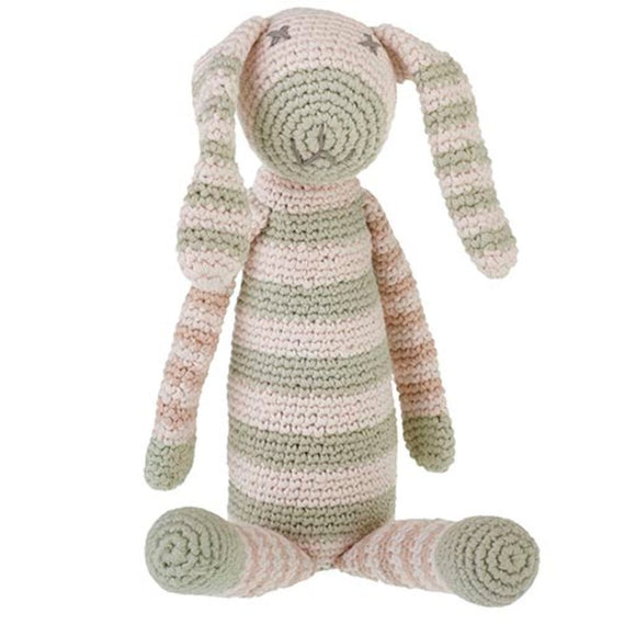Handmade Fair Trade Organic Pastel Green Striped Bunny