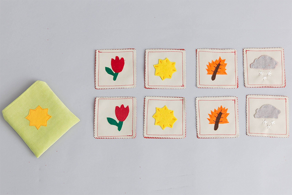 Handmade Fabric Seasons Mini Memory Game