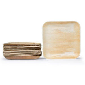 "Palm Leaf Square 10"" Inch Plates (Set of 25/50/100)"