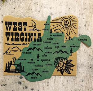 Die Cut West Virginia Postcard