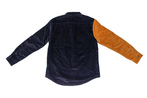 Navy Color Blocked Cord Jacket