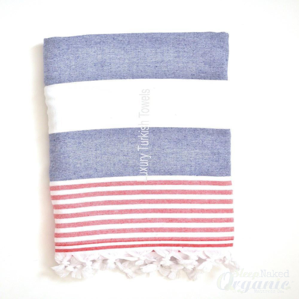 Marin Terry Turkish Towel - White/Navy/Red-Cyan Sam-Sleep Naked Organic Mattress Store