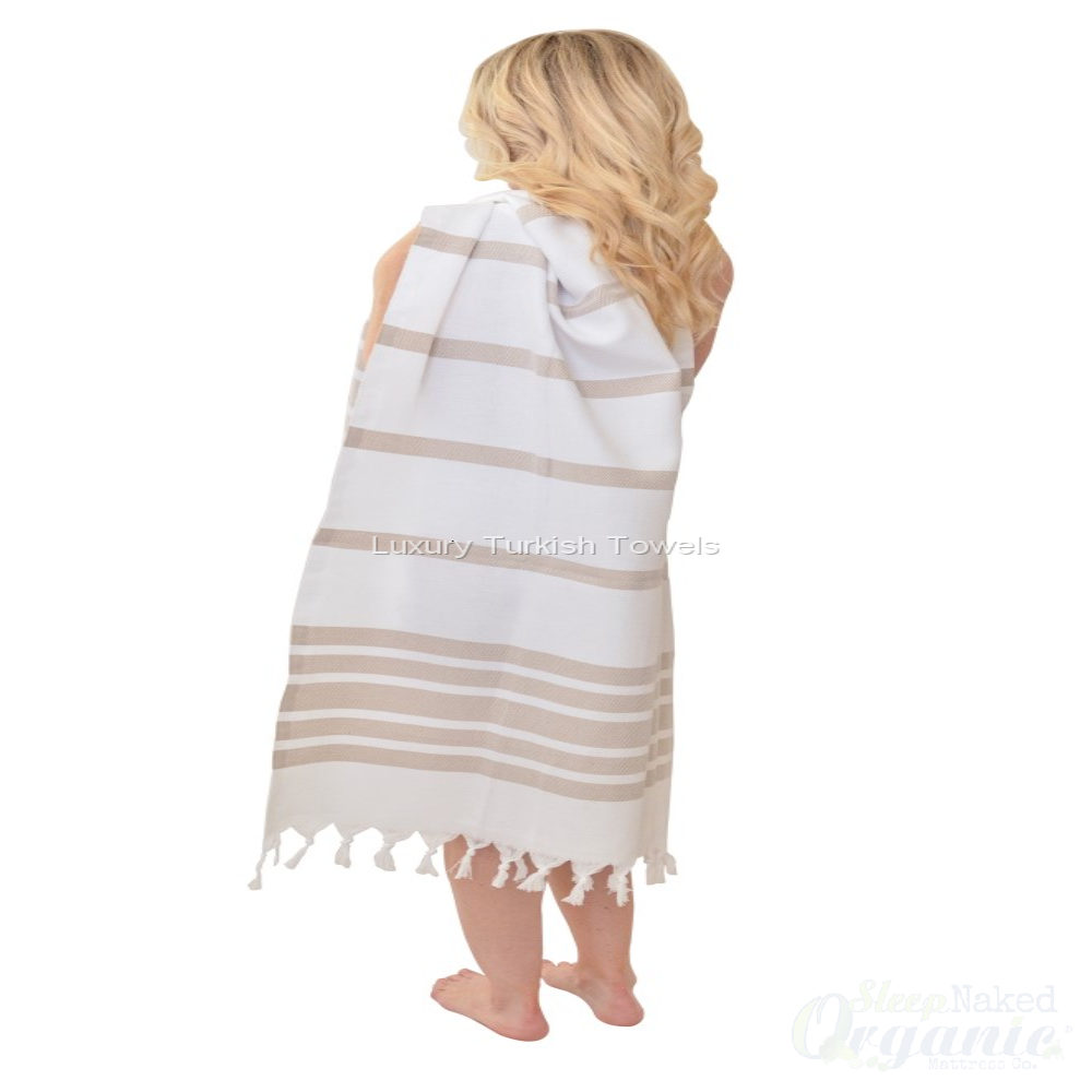 Organic Cotton Herringbone Turkish Towel - Beige-Cyan Sam-Sleep Naked Organic Mattress Store
