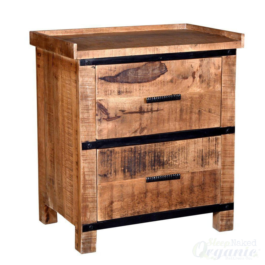 Wooden 2 Drawer Nightstand- Sneha Collection-Azure Tiger-Sleep Naked Organic Mattress Store