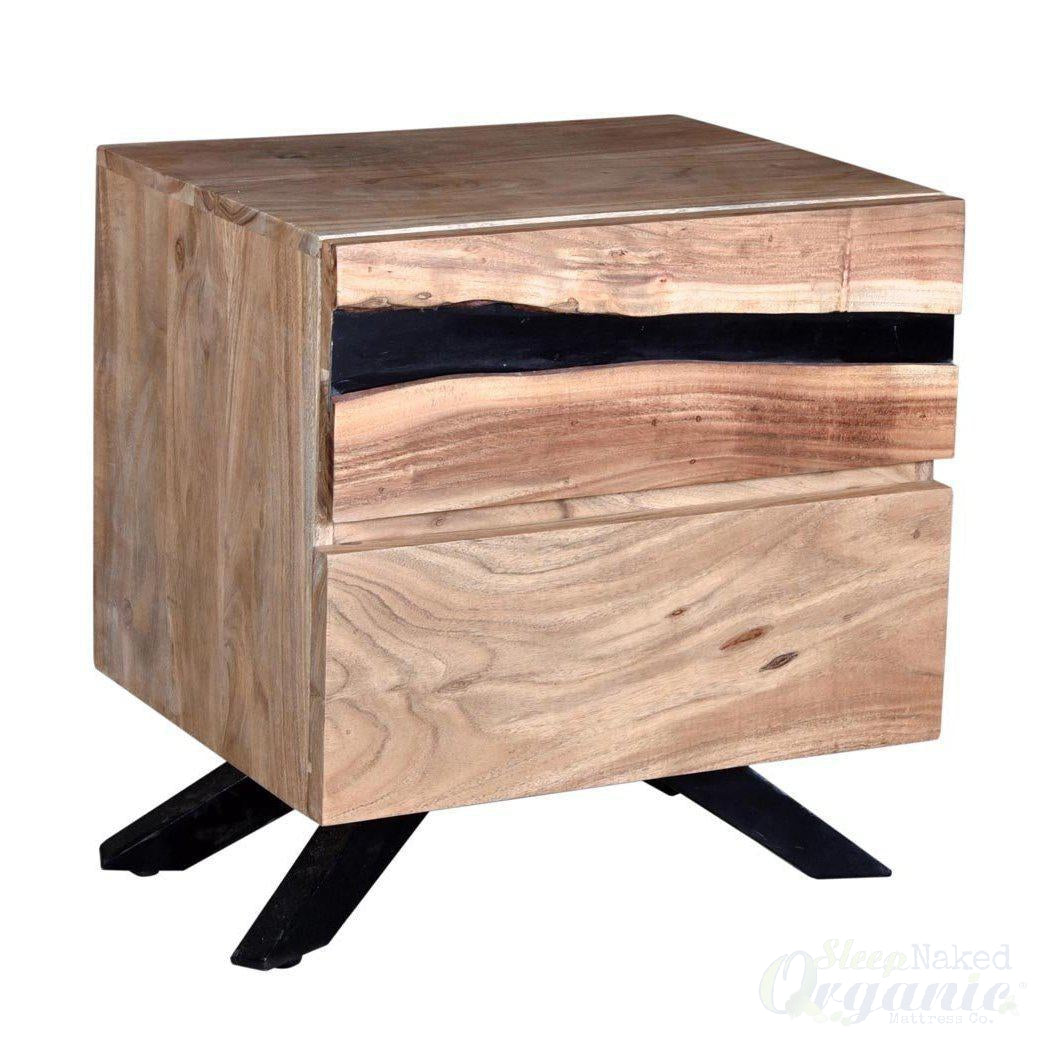 Wood Night Stand Arjun Collection-Azure Tiger-Sleep Naked Organic Mattress Store