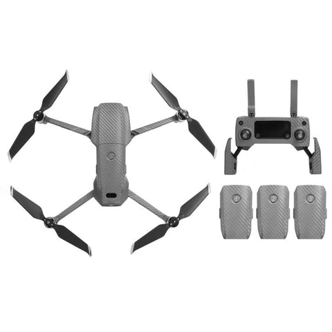 Sunnylife Carbon Waterdicht Alles rondom 3D PVC Sticker Kit voor DJI Mavic 2 Pro / Zoom Drone(zilver)