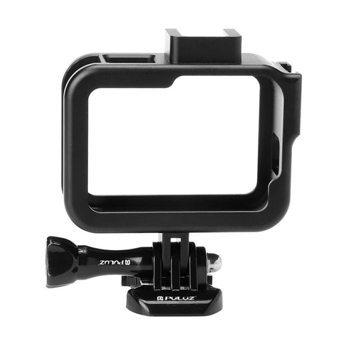 PULUZ for GoPro HERO8 Black Standard Border Aluminum Alloy Frame Mount Protective Case with Base Buckle & Long Screw(Black)