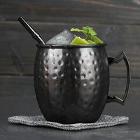 1 Piece 550ml Perfect Hammered Moscow Mule Mug Drum- Copper Plated Beer Cup Coffee Cup Stainless Steel-Copper Plated Cup