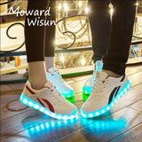 New Fashion USB Charge LED Shoes for Kids Luminous Glowing Sneakers with Light Up Sole Boys Basket Femme LED Slippers 20