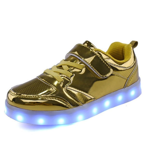 New fashion bright LED light shoes night cool USB charging children men and women colorful casual shoes