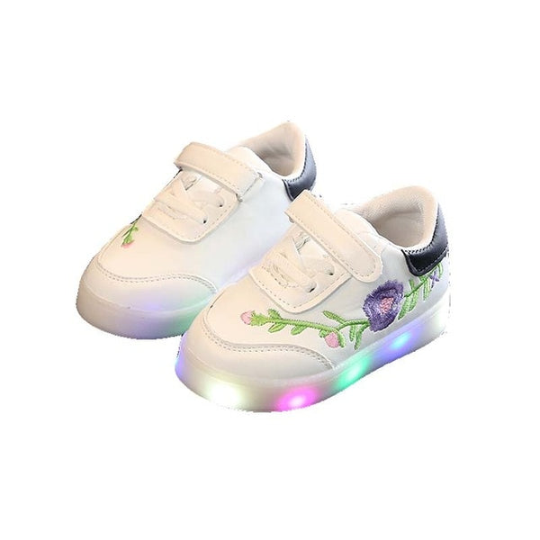 Casual Children Shoes Kid LED Light Floral Decoration Hook&Loop Soft Running Sports Shoes Hot Selling Child Shoe L1