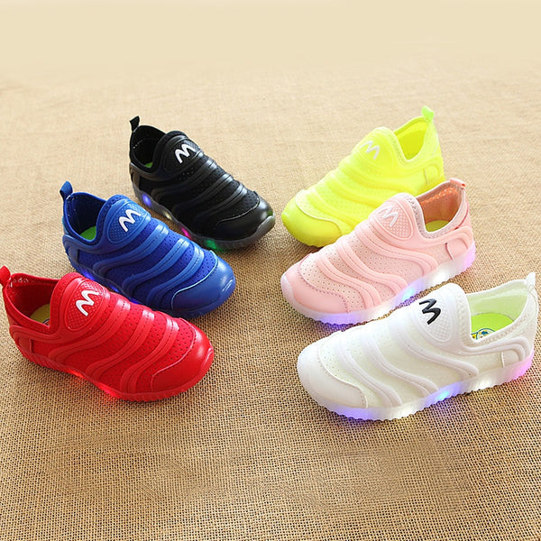 High quality LED slip on soft baby footwear elegant excellent girls boys sneakers all season lighting kids children shoes