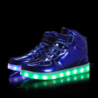 New boy girl 7-color LED high to help children bright light bright LED flat shoes casual shoes size 25-40