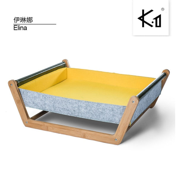 BLUERISE Cat Hammock Wooden Dog House Pet Hanging Bed Soft Sleeping Cat Bed House Cushion Mat Fashion Comfortable Wood Cat House