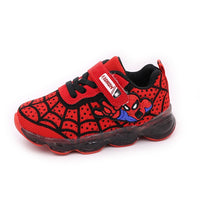 Children Shoes For Boys Toddlers Baby Boys Sports Sneakers With LED Glowing Luminous Shoes Kids Running Shoes Cartoon Spiderman
