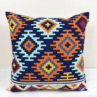 Home Decor Embroidered Cushion Cover Kilim Geometric Canvas Cotton Square Embroidery Pillow Cover 45x45cm Pillow Sham
