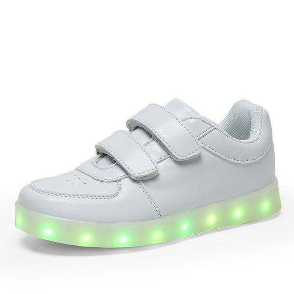 Kids Led shoes usb charging Sneakers Children hook loop Fashion luminous shoes girls' boys' glowing flash shoes