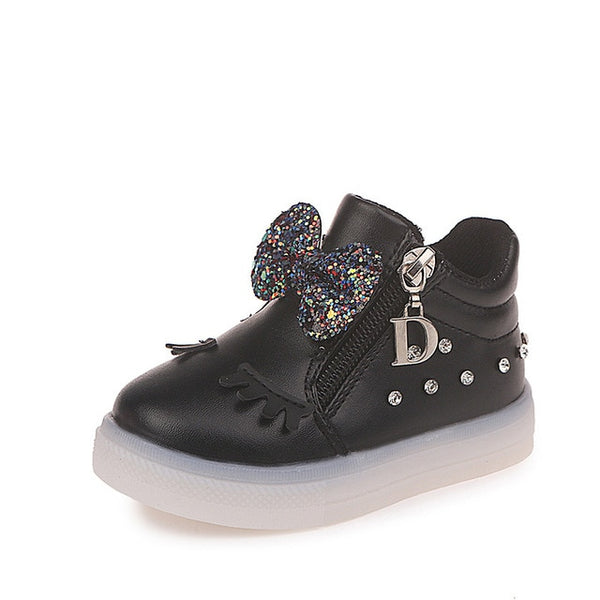 Mumoresip Kids Shoes For Baby Girl With Sequined Bow-knot Children Glowing Sneakers Luminous LED Girls Shoes Eyelash School Shoe