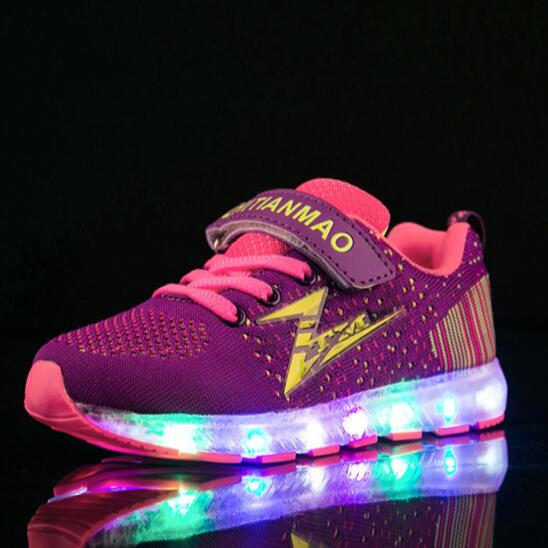 NEW Glowing Sneakers Child Mesh Shoes Children Boys USB Charging Light Shoes Girls Lighted Luminous Kids Size 25-36 04