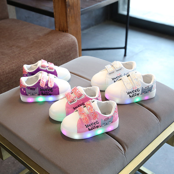 New European glowing stars fashion children sneakers Lace up beautiful lighting baby girls boys shoes breathable kids shoes