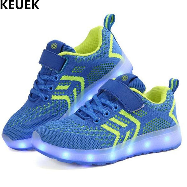 New Children Light Shoes Boys Girls Breathable LED Lighted Mesh Shoes Baby Student Glowing Sneakers Kids USB Charging Flats 018