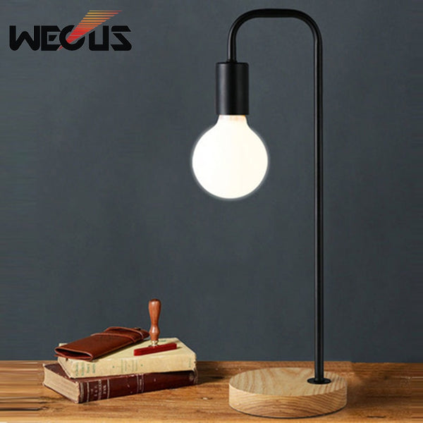 Nordic retro table lamp bedroom bedside office lighting personality creative concise eye protection bulb wood decorative lamp