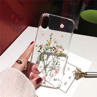 Qianliyao Dried Real Flower Cases For iPhone XS Max XR Case Handmade Clear Soft Back Cover For iPhone 6 6S 7 8 Plus X Phone Case