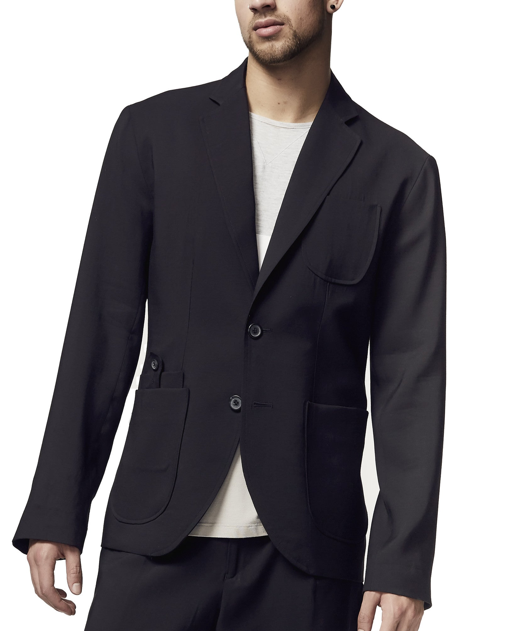 Men's black Tencel/Linen tie back blazer S/S18