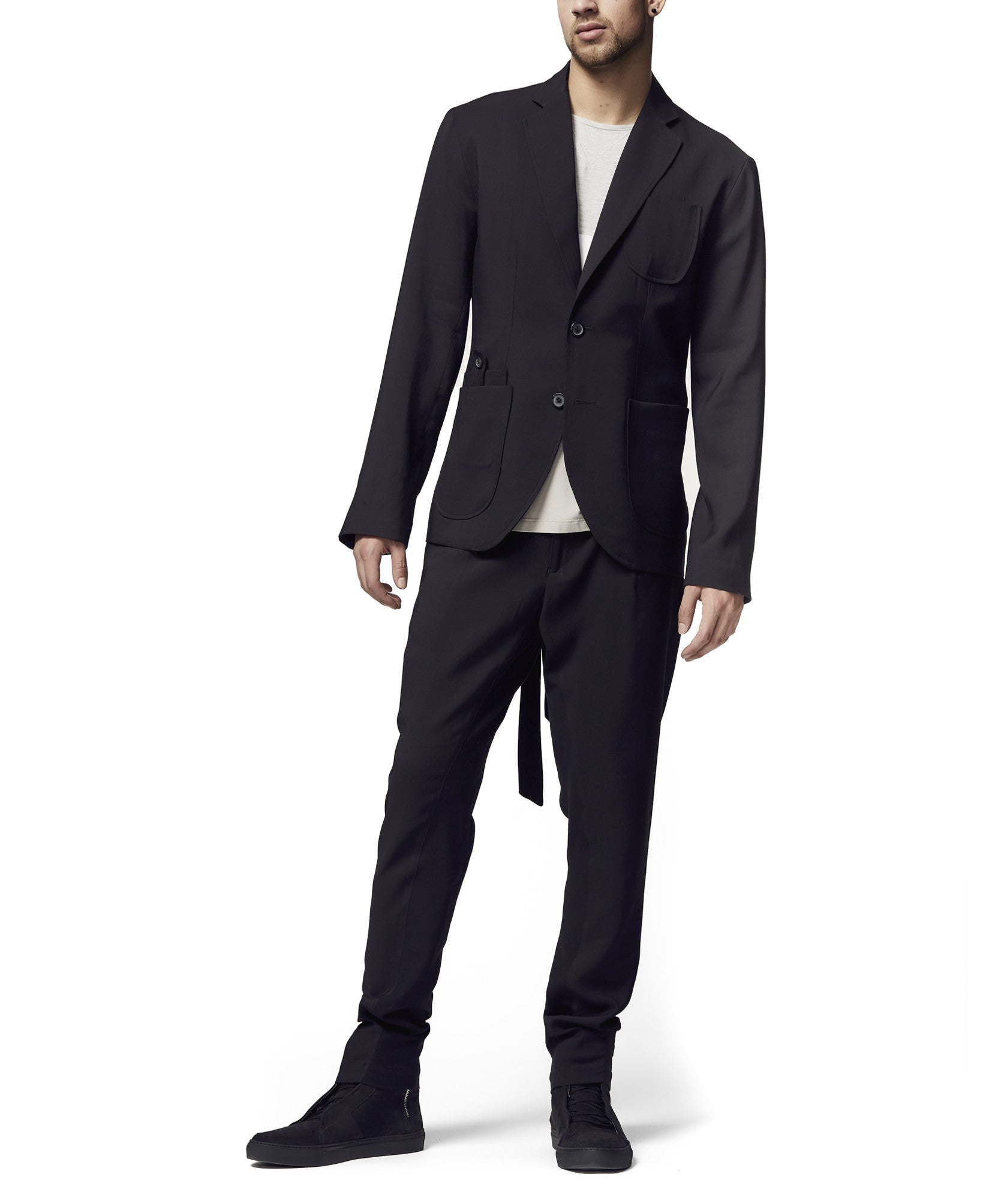 Men's black Tencel/Linen tie back blazer S/S18 full image