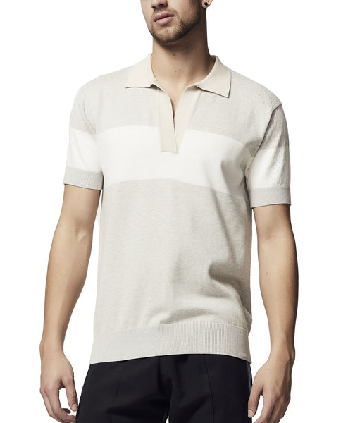 stone and white mens summer polo top SS18
