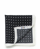 C&T Silk Pockerchief - Cordovan Polka dot Black
