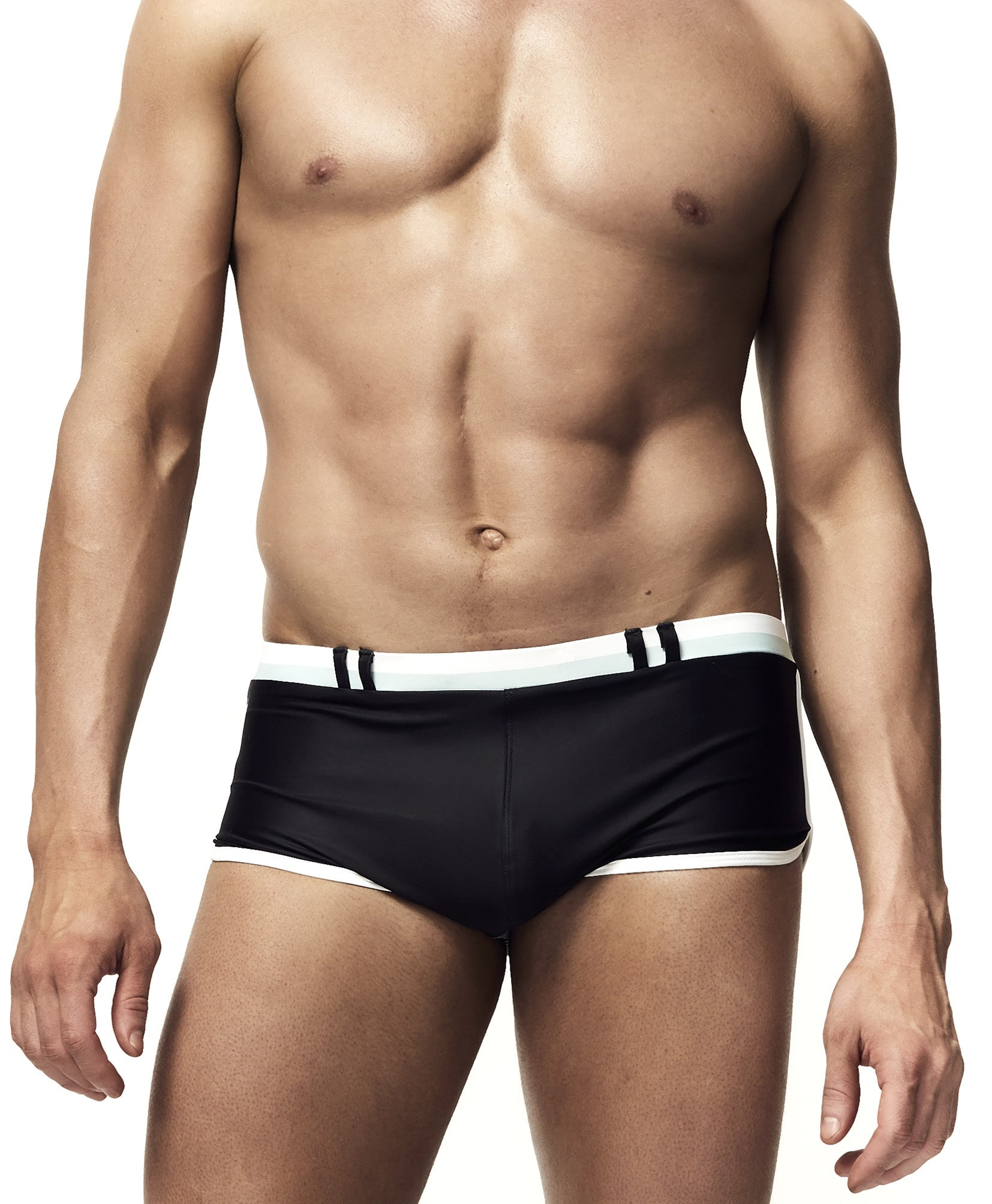 Black mens racer swim trunk