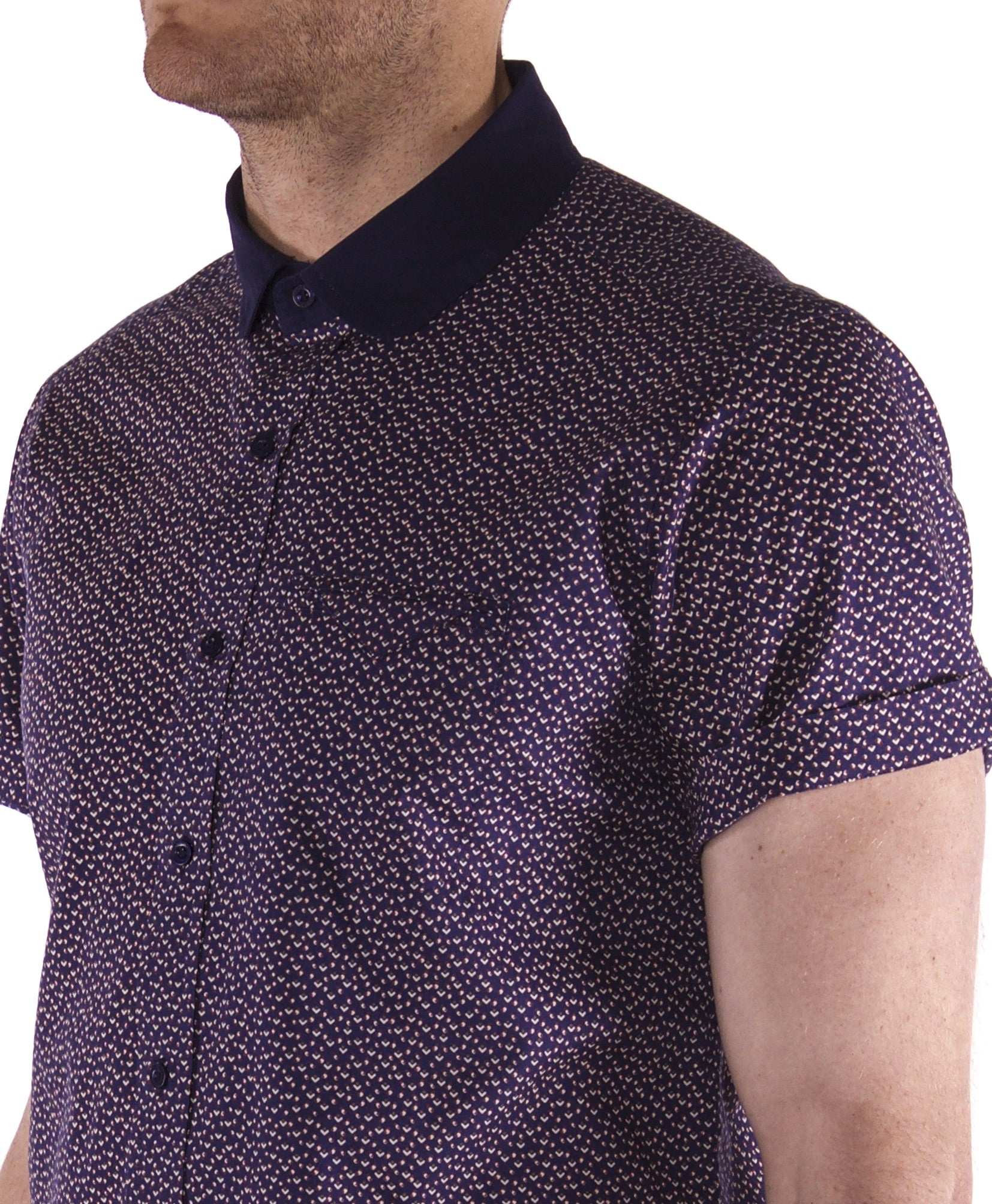 Navy geometric print short sleeve short