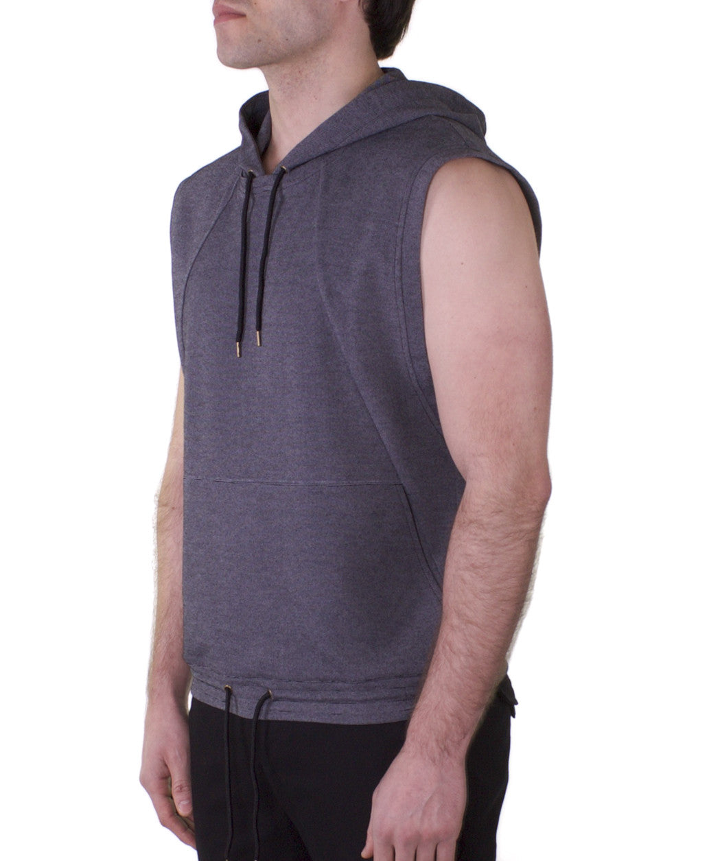 Grey sleeveless hooded top